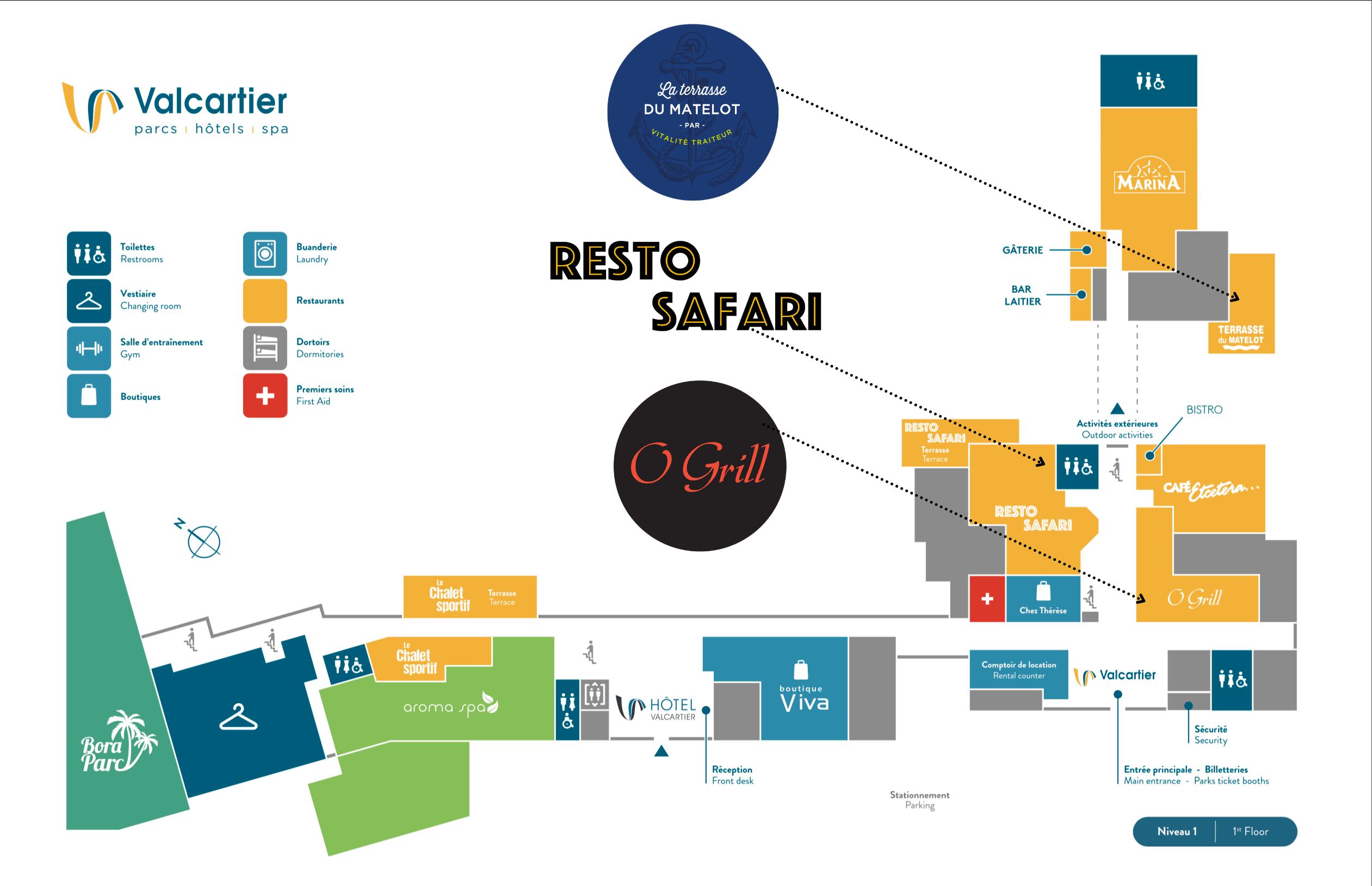 Carte du site Village vacance valcartier et restaurants
